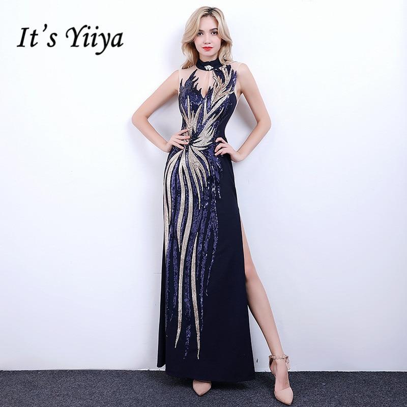 It s YiiYa Evening Dress 2018 Shiny Sequin Sleeveless Split Illusion  Trumpet Floor-length Dinner Gowns LX1317 robe de soiree.  HTB1MyqcPXXXXXbRaXXXq6xXFXXXa fa3909302ece
