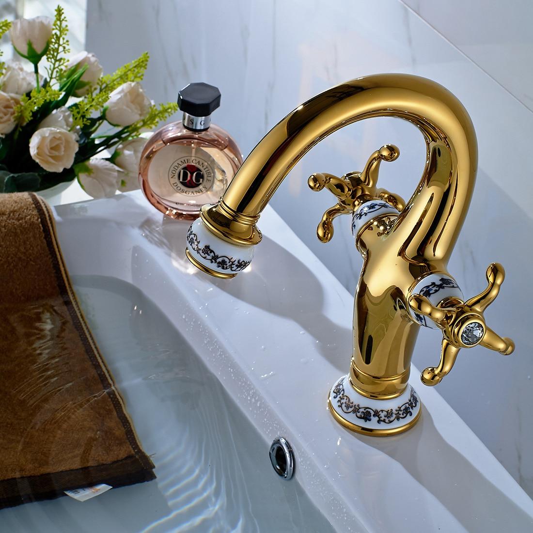 Basin Faucet Blue White Porcelain Luxury Single Hole Dual Han ...