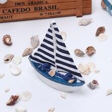 Vintage estilo mediterráneo náutico marino de madera azul velero barco adornos manualidades de madera fiesta decoración de la habitación del hogar