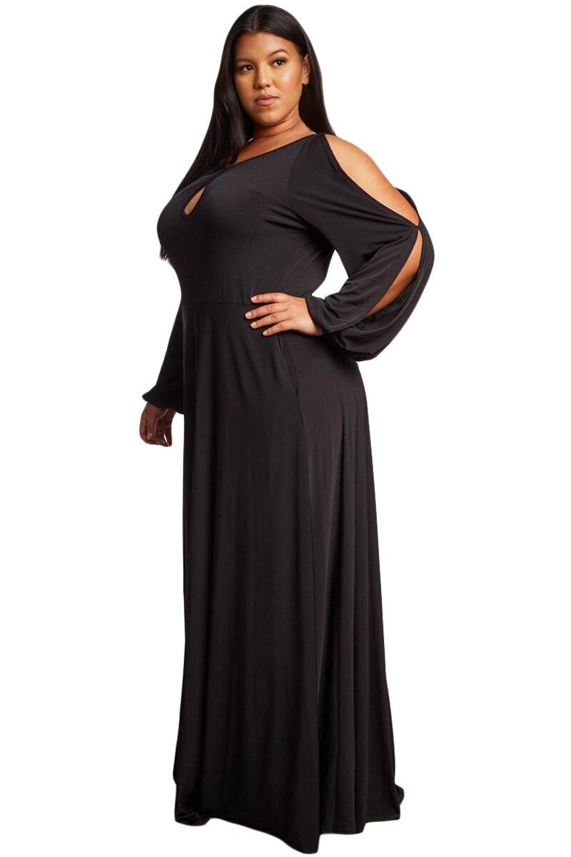 Black-Split-Long-Sleeve-Plus-Size-Maxi-Dress-LC610516-2-3