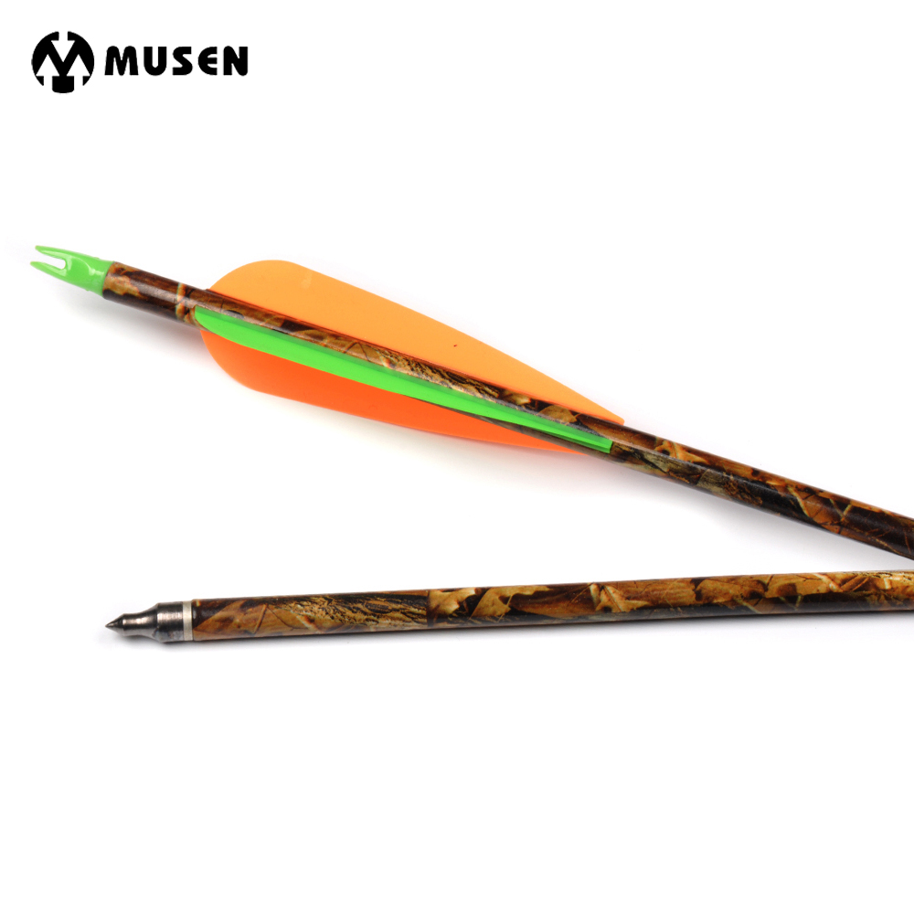 6/12/24pcs 30 Inches Spine 300 Camouflage Aluminum Arrow with 2 Orange 1 Green Feather for Compound Bow Hunting Shooting Archery suunto arrow 6