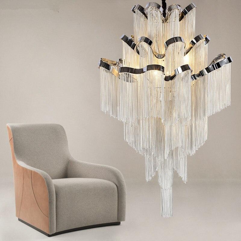 French Empire LED Aluminum Chain Chandelier Lighting Nordic Modern Lustre Hanging Lamp Light Fixtures Suspension Luminaria in Pendant Lights from Lights Lighting