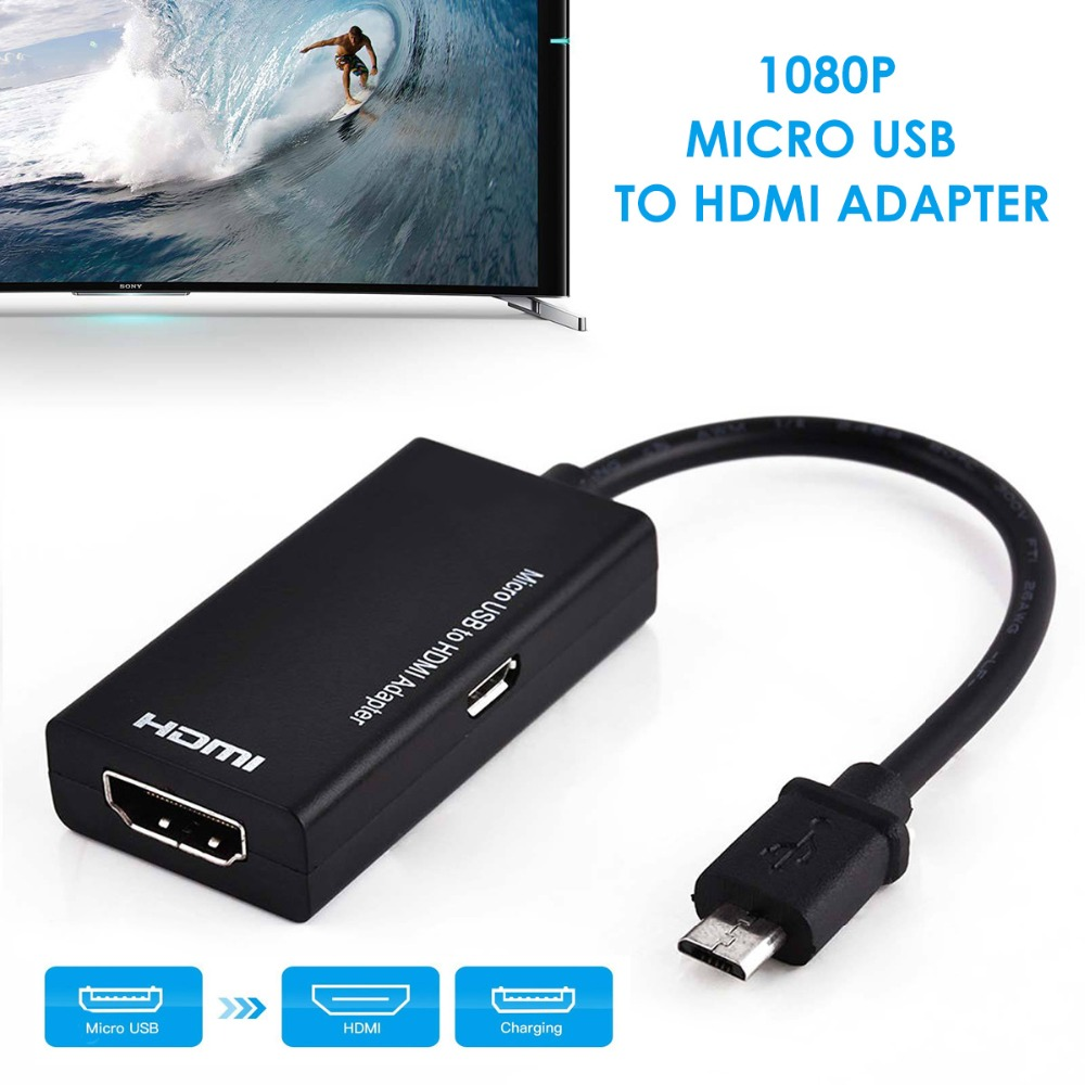 SOONHUA Micro USB To HDMI 1080P HD Audio Video Cable for HDTV Converter Adapters For Samsung Huawei Android Phone Tablet usb