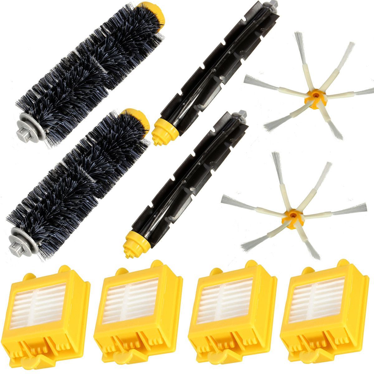 2018 4Pcs Hepa Filters And Flexible Beater Bristle Brush Kit 2 Side Brush For iRobot Roomba 700 Series 6 Armed 760 770 780 hepa filters bristle brush flexible beater brush 3 armed side brush pack set for irobot roomba 700 series 760 770 780 790
