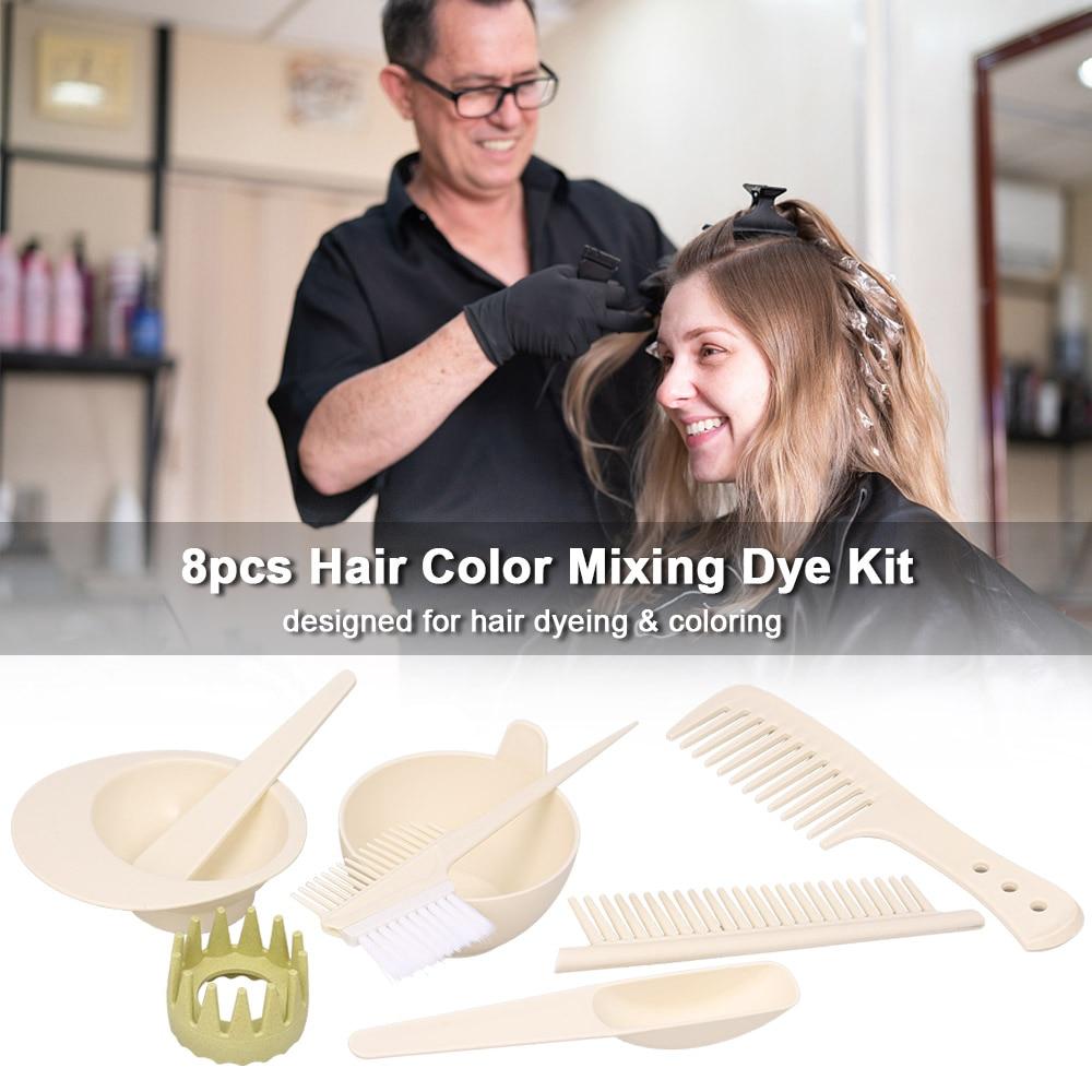 8pcs Hair Color Mixing Dye Kit Hair Coloring Set Salon Tool Hair Dyeing Tint Brush Comb Bowl Whisk