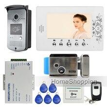 """Envío Gratis Home 7 """"Color Video de La Puerta Teléfono Intercom Kit 1 Cámara 1 Monitor + Eléctrico de Bloqueo De Control de Acceso RFID Al Por Mayor"""
