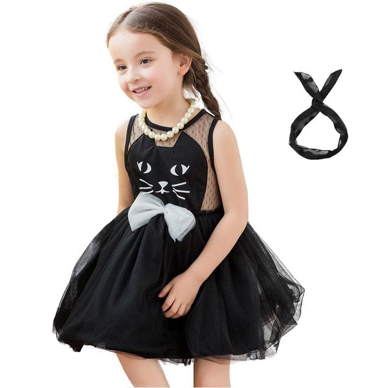 Nové 2-7T letní dětské šaty dívky módní krajkové šaty pro dívky roztomilý kočičí styl bez rukávů dívky plesové šaty