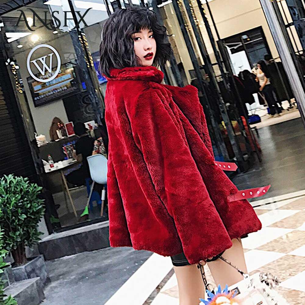 Ansfx Shaggy Col As À Vestes Survêtement Chaud Tops En Fourrure Shown Fausse Cuir Mode La Ceinture Entaillé Femmes Poilu Faux Rouge Hiver Manteau fP1qwrfx