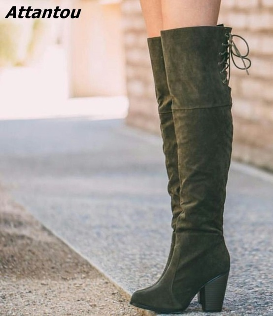 eb5cbe397eac Concise Women Simply Suede Dark Army Green Block Heels Knee High Boots  Pretty Round Toe Back Lace Up Chunky Heel Boots Hot Sell