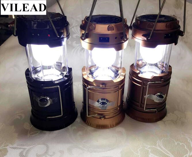 VILEAD LED Camping Lantern Outdoor Portable Light Waterproof  Solar Energy or Battery or Electricize