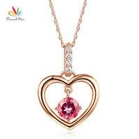 Peacock Star Fine 14K Rose Gold Pink Topaz Heart Pendant Necklace 0.04 Ct Diamond