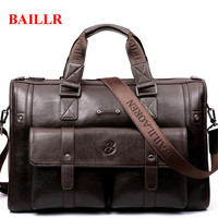Hot Sale BAILLR Business Briefcase Casual 14 15 Inch Laptop Handbags Waterproof Leather Travel Men Messenger