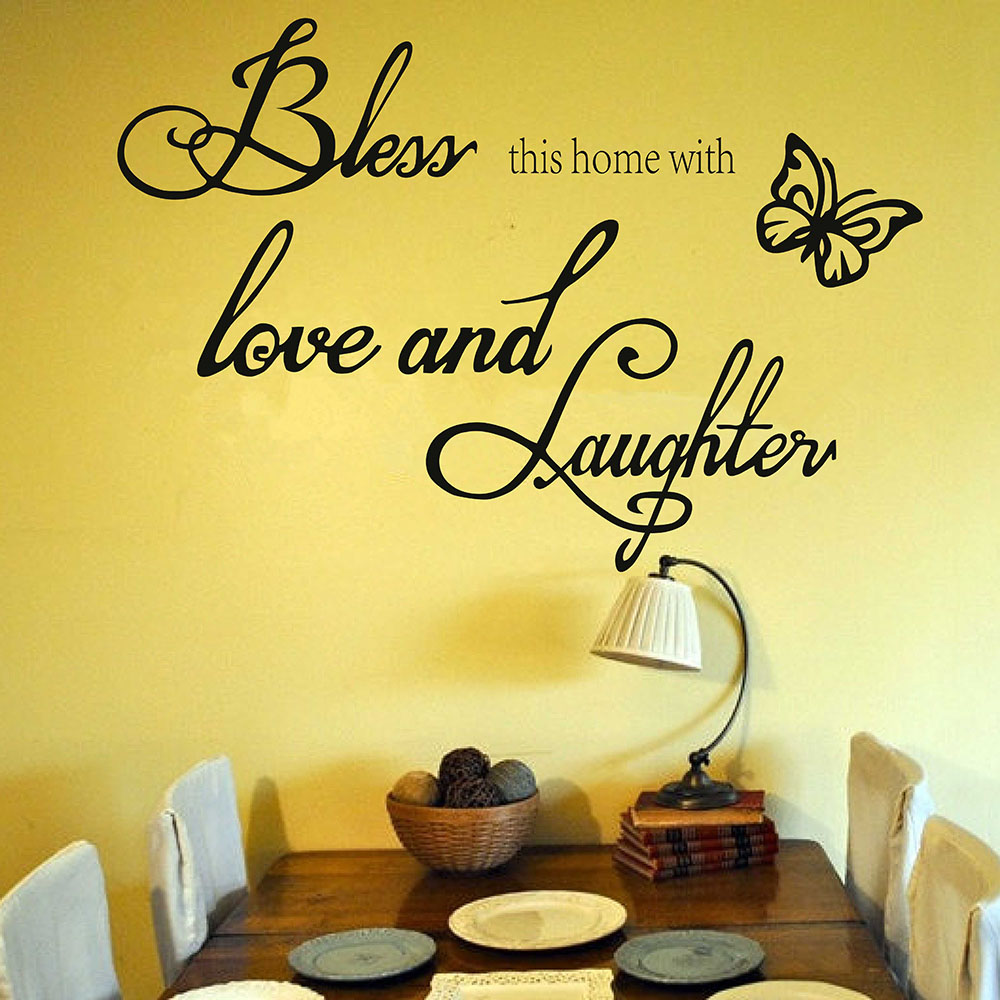 Bless This Home with Love and Laughter Family Quotes Wall Sticker ...