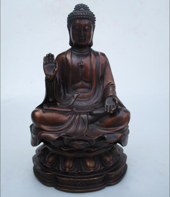 Art Collection Home Decorated Copper Carved Sakyamuni Buddha Statue/