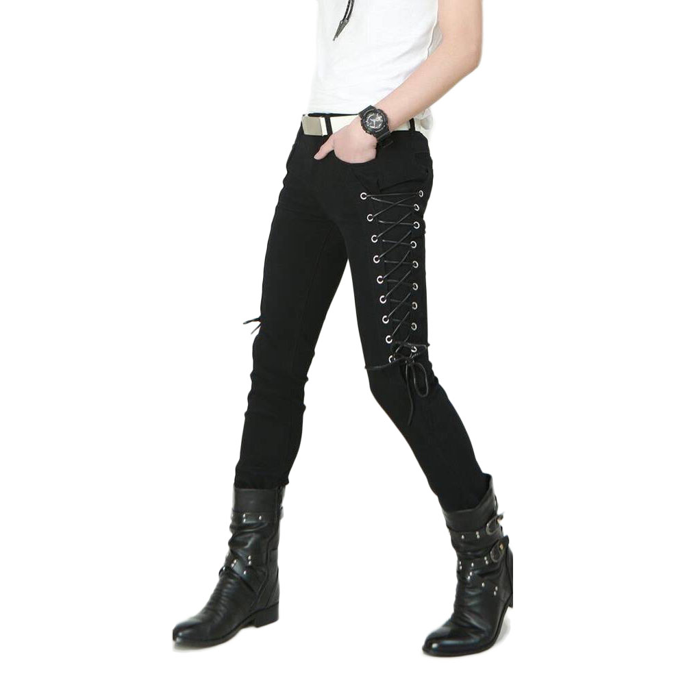 Idopy Fashion Slim Fit Pants Steampunk Black Patchwork Stretchy Lace Up Dance Night Club Gothic Button Jeans Trouser For Men