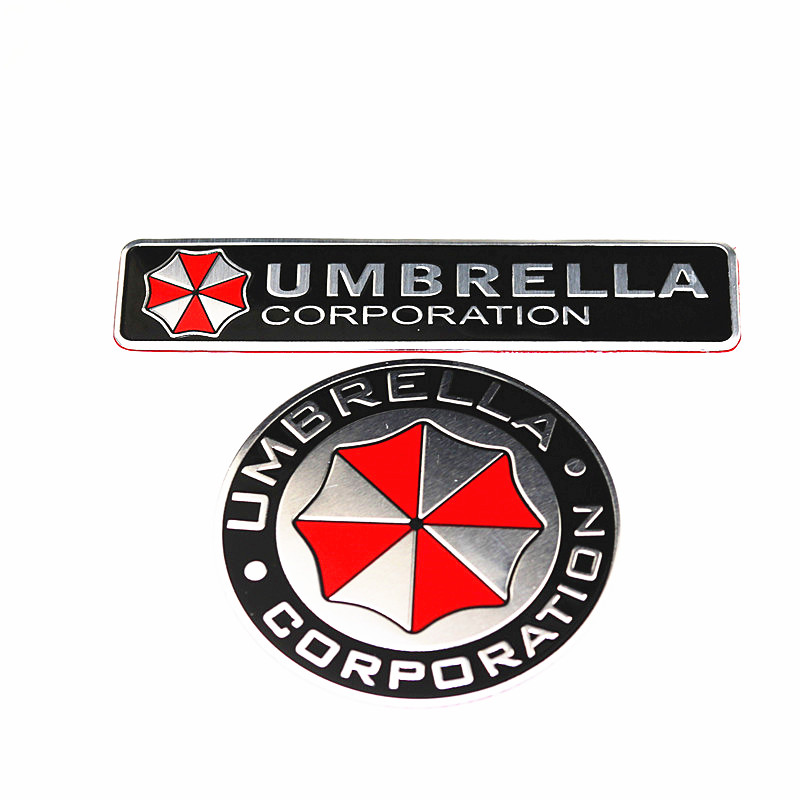 2PCS Car Styling 3D Aluminum Alloy Umbrella Corporation Car Stickers Decals Emblem Decorations Badge Auto Accessories