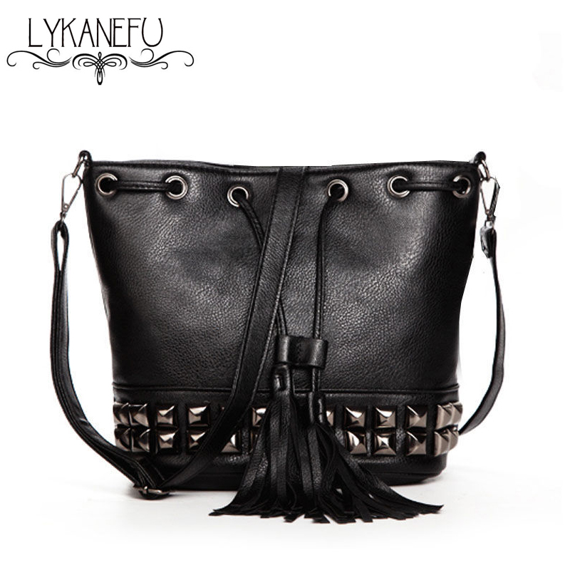 Fashion New Bucket Bag For Women Messenger Bags Small Crossbody Bags Black Tassel Bolsas Femininas Dollar Price