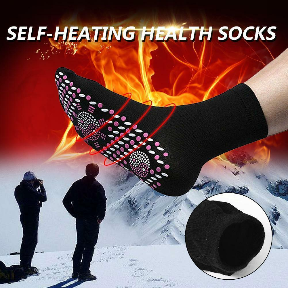 1pair Self-Heating Health Care Socks Tourmaline Magnetic Therapy Comfortable Breathable Massager Winter Warm Foot Care Socks