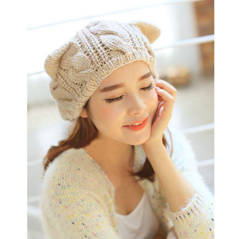 2fe22b4525c Detail Feedback Questions about Winter Gifts Women Crochet Woolen Cap Hat  Cat Ear Braided Knit Warm Cap H7 on Aliexpress.com