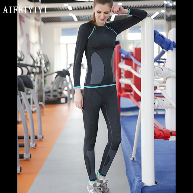 Winter Women Breathable quick dry Compression thermal underwear set Stretch Anti-microbial Warm Base Layer long johns