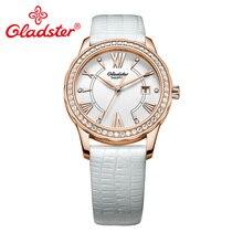 Gladster Японский Miyota механизм Кристалл женские часы сапфировое Хрустальное кожаное платье женские часы Модные Кварцевые женские наручные часы