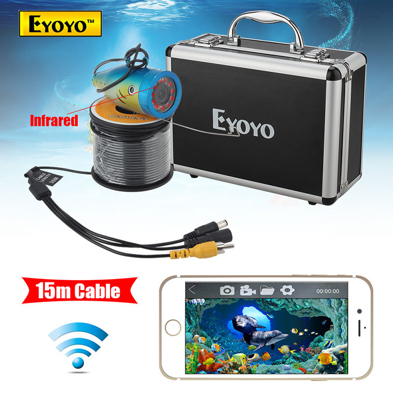 Eyoyo WF01 15M 2.4G WIFI Wireless Fish Finder IR Underwater Fishing Camera Ocean/Ice Free shipping eyoyo 50m fish finder 2 4g wifi wireless waterproof underwater fishing video camera free shipping