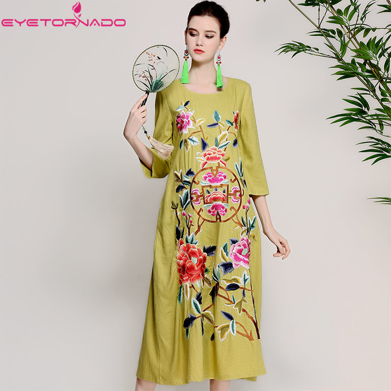 Women flower embroidery casual loose dress ladies summer vintage beach boho long maxi ethnic dresses cotton linen chinese style