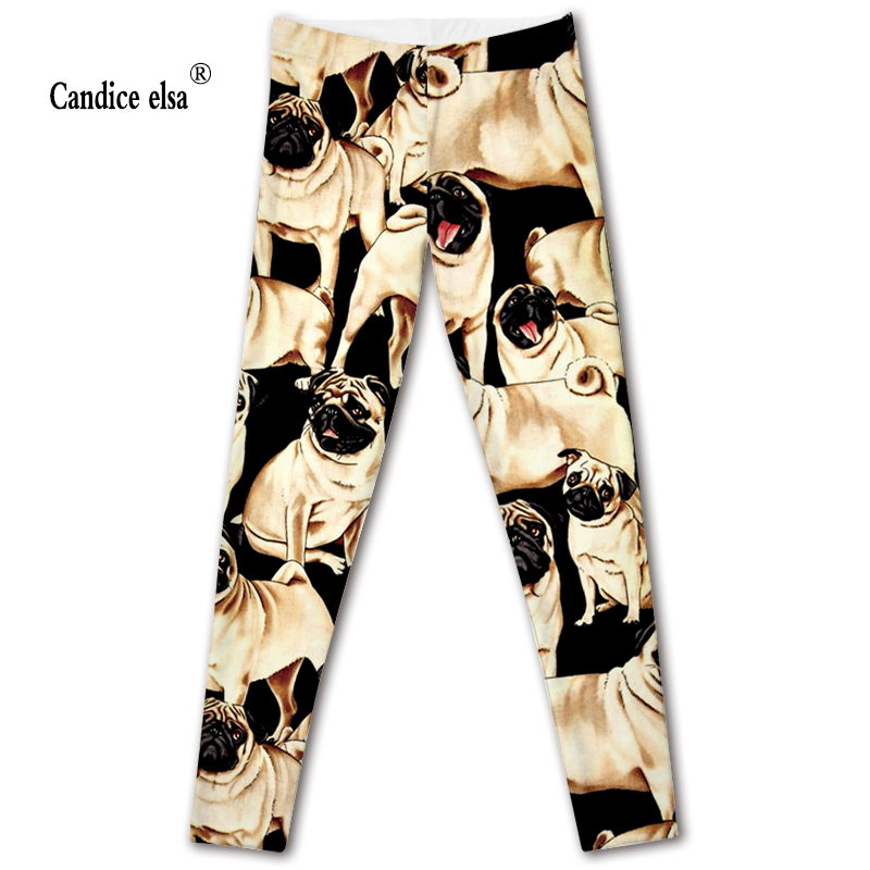 CANDICE ELSA   leggings   women elastic sexy fitness   legging   dog printed workout female pants plus size wholesale drop shipping