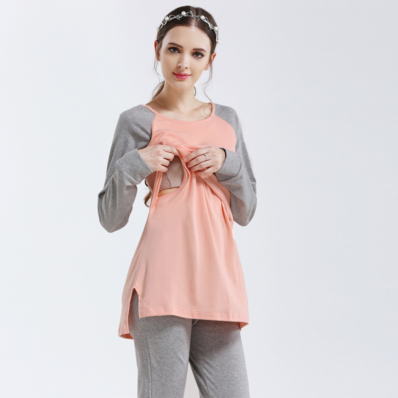 2018 New Maternity Nursing Sleepwear Cotton Full Sleeve Breastfeeding Nightgown Pink/Blue Pregnancy Nightwear Maternity Clothes