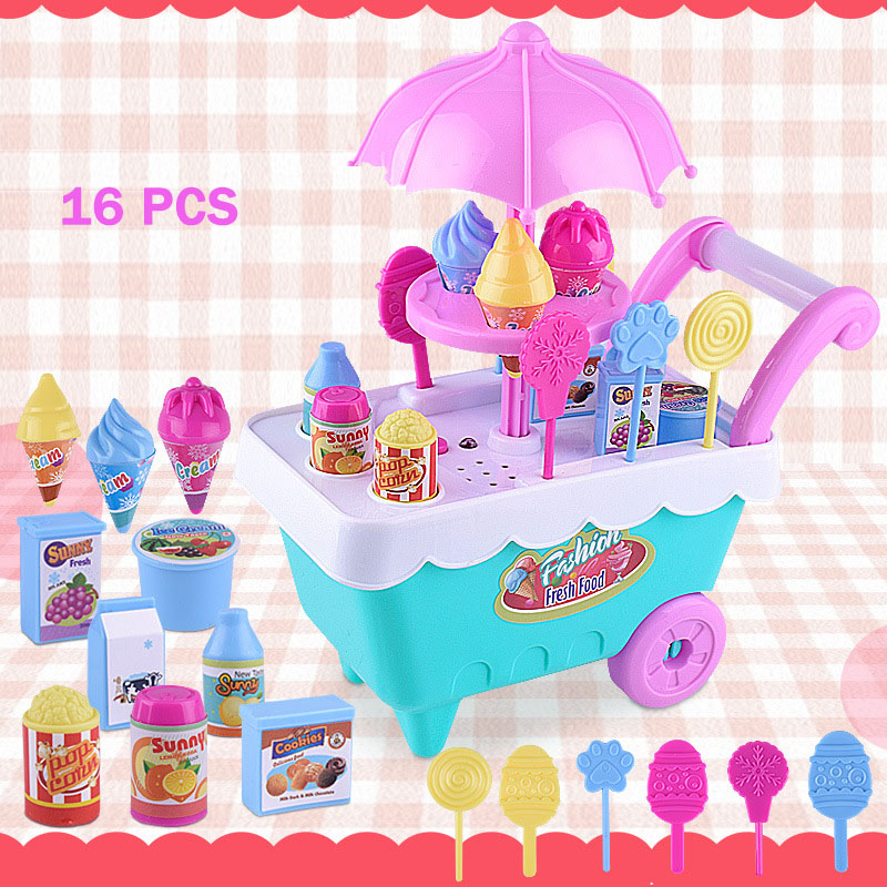 16 Pcs Play Toys Simulation Small Carts Girl Mini Candy Cart Ice Cream Shop Supermarket Children s Playing Home Baby
