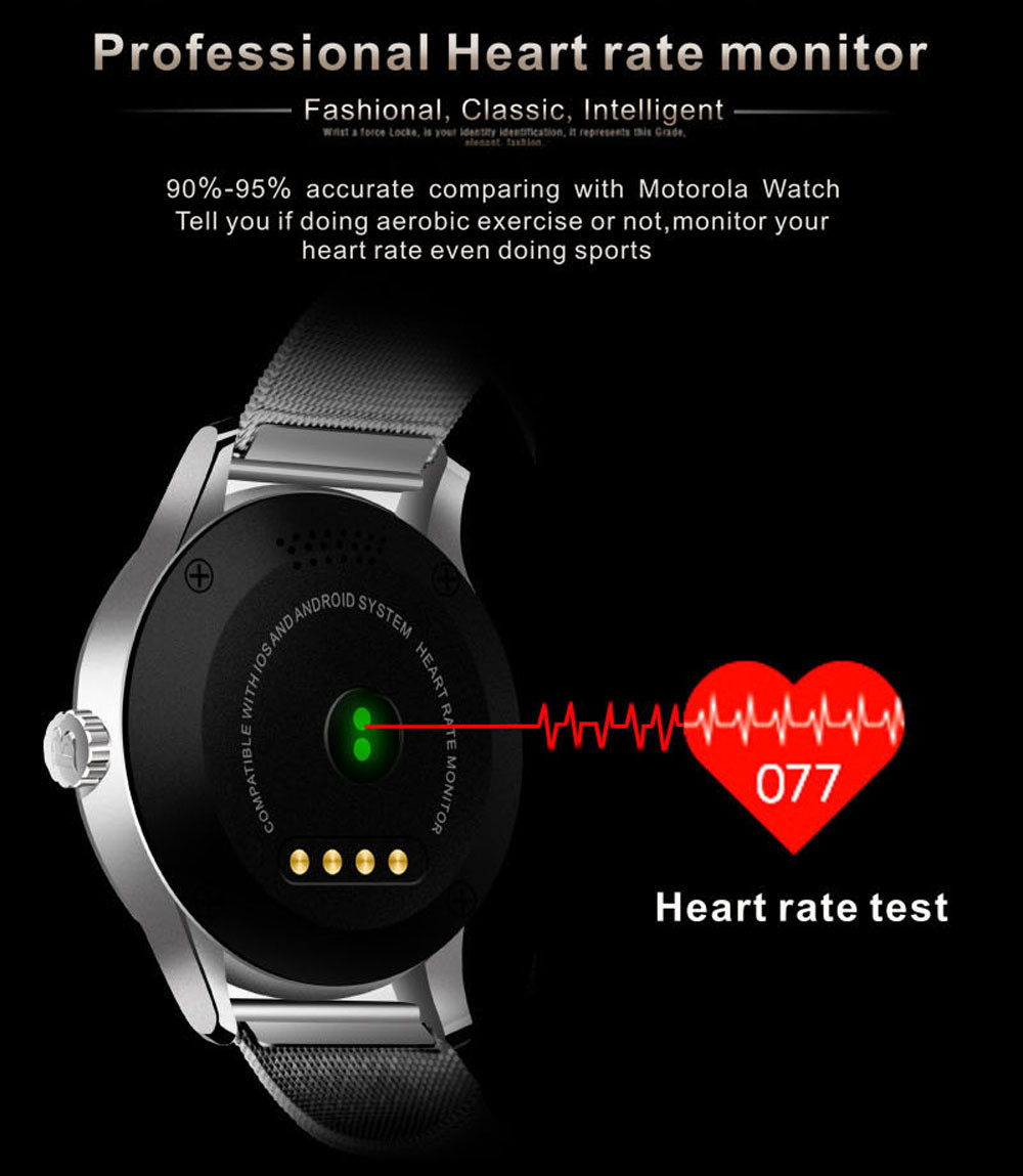 Makibes K88H Bluetooth Smart Watch Classic Health Metal Smartwatch Heart Rate Monitor for Android ISO Phone Remote Camera Clock 9