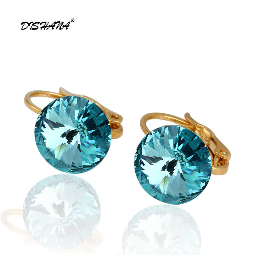 Dishana 14 Gold colors Fashion classic Elegant drop earrings 1.0CM Austrian  crystal jewelry drop Earrings ebe1af6b441d