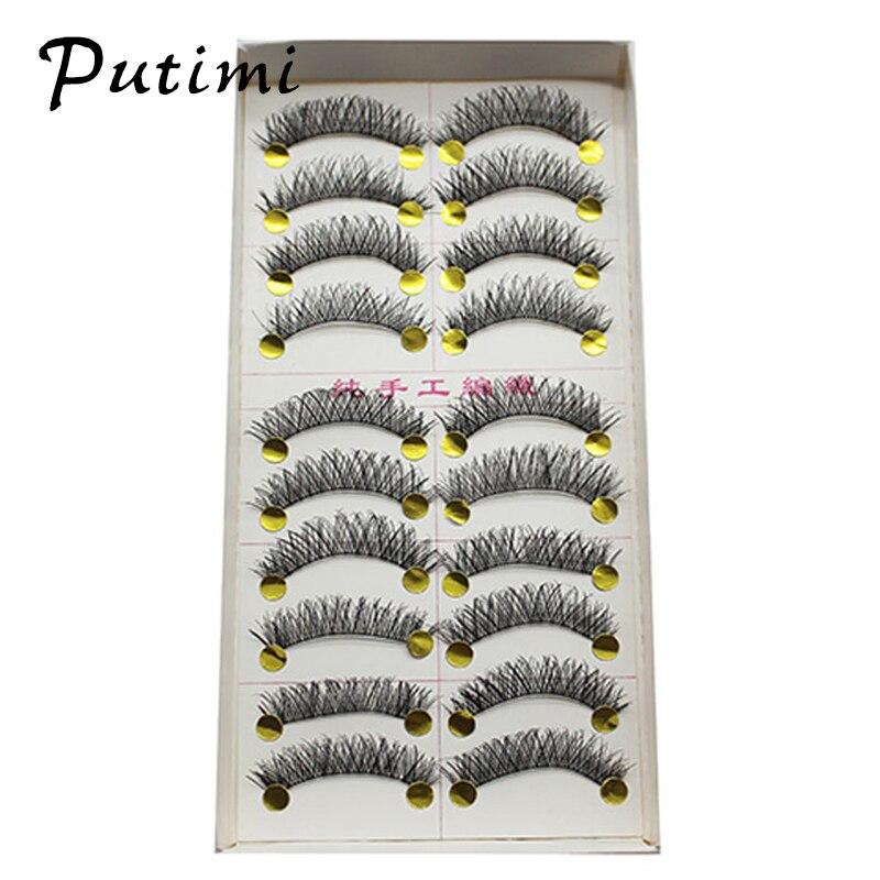 Putimi Long Natural False Eyelashes 10 Pairs Makeup Beauty ...