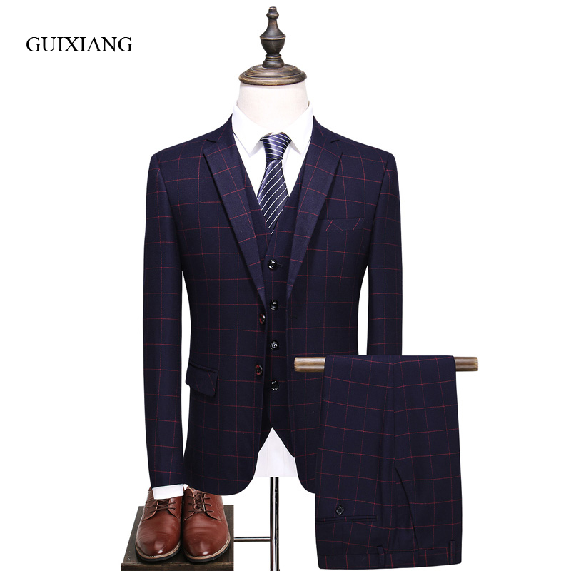 2017 new style men high-end boutique suit high quality business casual grid slim men's suit jacket(Jacket, Vest and Pants) S-3XL