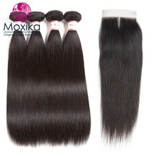 Moxika Brazilian Straight Hair Weaves With Closure 5pcs 100% Straight Human Hair 4Bundles With Closure Remy 8-28inch free part(China)