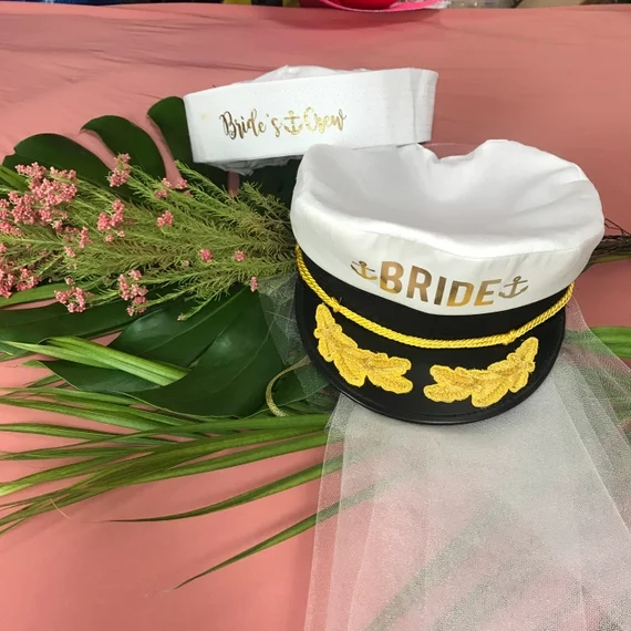 Personalize Nautical Sailor Hats, Beach Wedding I Do Hats, Bride Captain Hats With Veil, Cruise Bachelorette Birthday CAPS