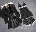 Yomrzl verão renda sexy das mulheres conjunto de pijama preto gaze sono definir lingerie sexy presente do Dia Dos Namorados L510