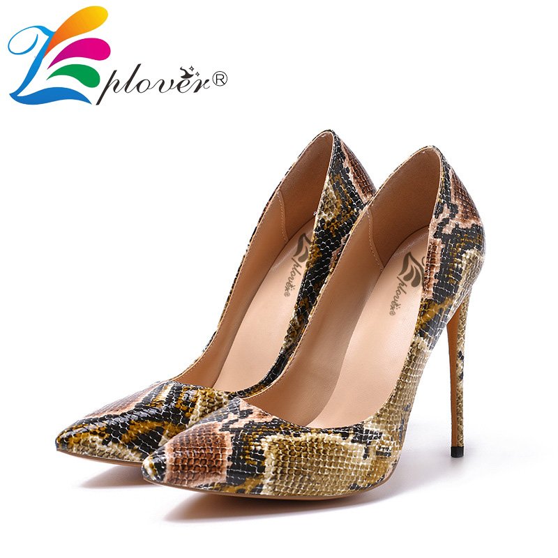 Big size 35-45 Snakeskin High Heels Fashion Wedding Shoes Woman Thin Heels Women Pumps Spring Autumn Comfortable Women Shoes 2017 free shipping siketu spring and autumn women shoes fashion high heels shoes wedding shoes pumps g174 summer sandals