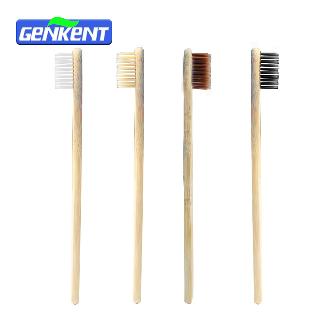 Genkent 4PCS Adult Environmentally Wood Toothbrush Novelty Bamboo Toothbrush Capitellum Bamboo Fibre Wooden Handle image