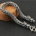 5 MM hechos a mano tailandia 925 Siilver dragón pulsera buena suerte Vintage Sterling Silver Dragon Bracelet