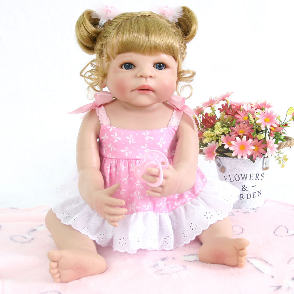 55cm Silicone Reborn Baby Doll Realistic Bebe Girl Dolls Alive Real Baby Lifelike princess wear Pink skirt Funny birthday gift55cm Silicone Reborn Baby Doll Realistic Bebe Girl Dolls Alive Real Baby Lifelike princess wear Pink skirt Funny birthday gift