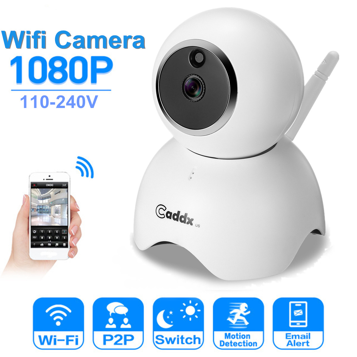 Wireless 1080P HD Wifi IP Camera CCTV Security Night Vision Surveillance Monitor H.264 Noise Suppression Air-Join Multi-user