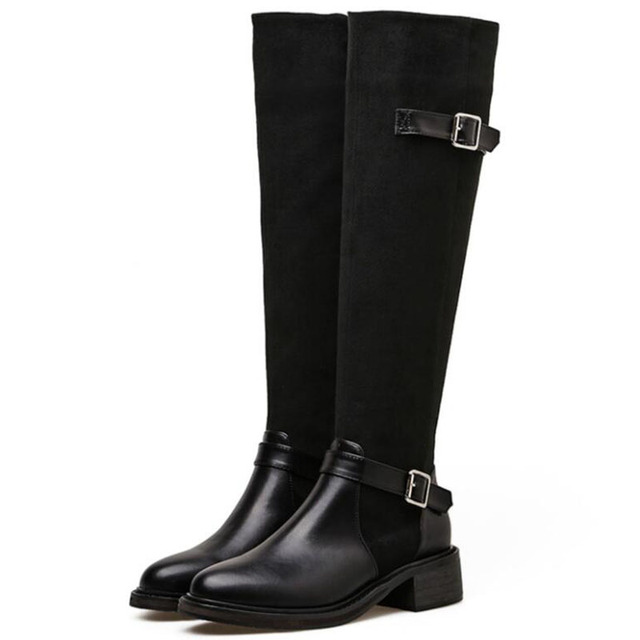 e155cd9d113 Fashion New Womens Knee Length Boots Winter Snow Long Boots Shoes Fur Flats  Lady Black Brown aa0568