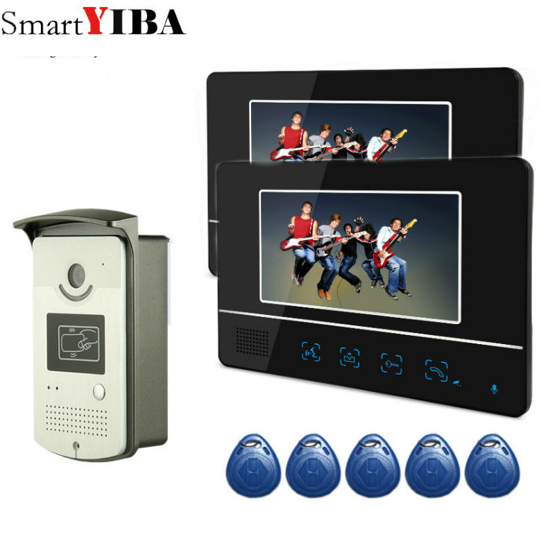 SmartYIBA FREE SHIP 7`` video intercom video doorphone speakerphone intercom system black 2 monitor outdoor with IR Camera
