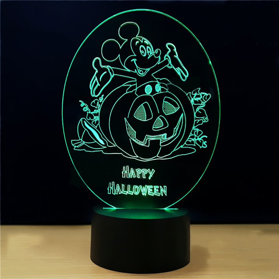 Led Lamps Halloween Led Night Light New Style Pumpkin Touch 3d Colorful Nightlight Creative Energy-saving Gradual Gift 3d Light