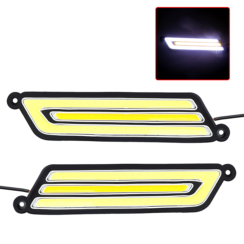 1 Pair Waterproof COB Turn Signal Lamps Reversing Light LED Car DRL Flexible Fog Lamp Car-styling Daytime Running Light