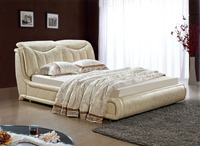 Designer Modern Genuine Real Leather Soft Bed Double Bed King Queen Size Bedroom Home Furniture Rectangle