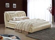 Diseño moderno de cuero verdadero genuino suave / cama doble tamaño king / queen muebles para el hogar dormitorio rectángulo cama moderna americana