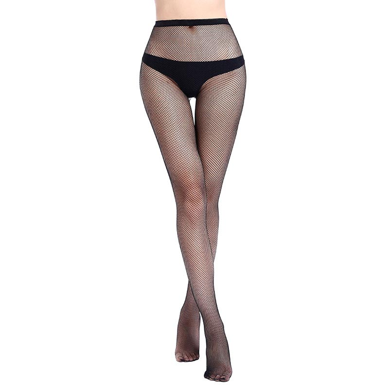 Plus Size Women's Long Sexy Fishnet Stockings Black Elastic Pantyhose Mesh Stockings Lingerie Skin Thigh High Stocking WW26DM