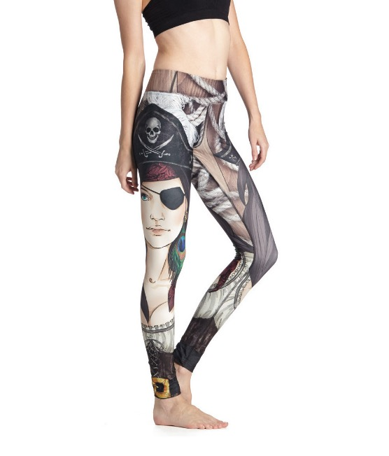 Cool Europe Super elastic Pants Character Pirate Women Leggings Slim Breathable Pants 3D Print Sexy Legins